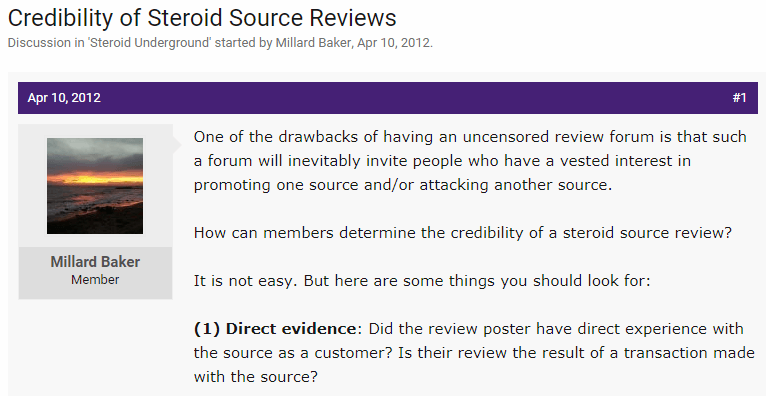 Post Discussing How to Correctly Identify Reliable Reviews for Steroids