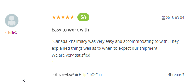 Canadian Pharmacies User Testimonial