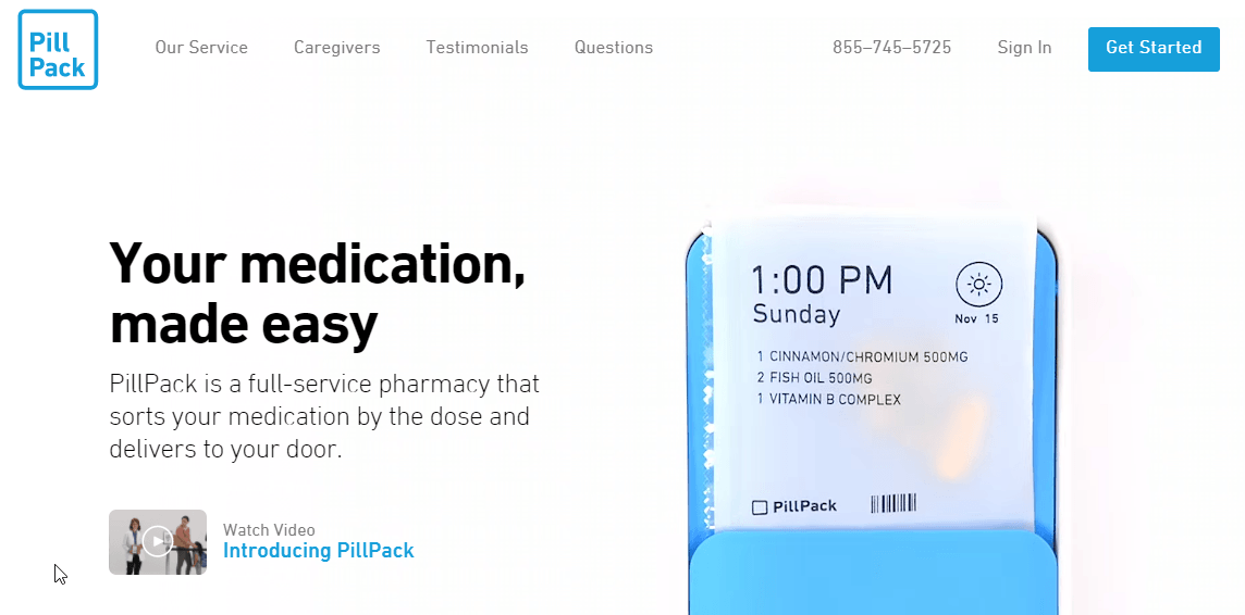 Pill Pack Pharmacy Homepage
